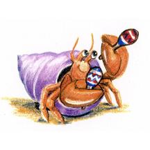 Hermit Crab Playing Maracas by Kit Colman