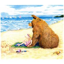 Bear and Girl on Beach by Kit Colman