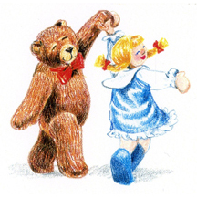 Girl and Bear Dancing by Kit Colman
