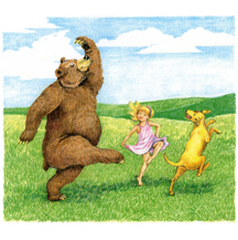 Girl Dancing with Bear and Dog by Kit Colman