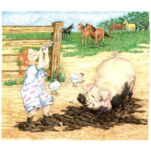 Girl and Pig in Mud by Kit Colman