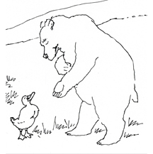 Bear and Duck - Black and White - by Kit Colman