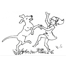 Girl and Dog Dancing by Kit Colman