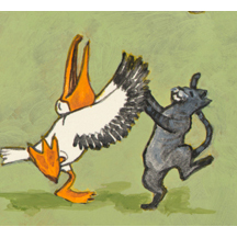 Pelican and Cat Dancing by Kit Colman
